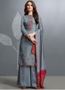Grey Party Designer Palazzo Salwar Suit