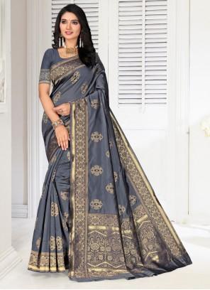 Grey Party Silk Designer Saree
