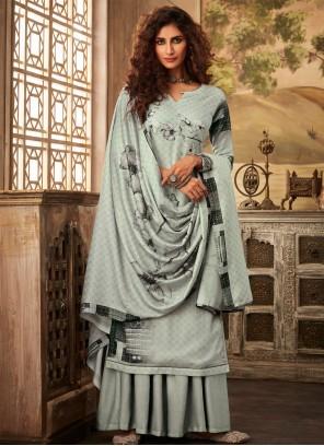Grey Pashmina Party Salwar Kameez