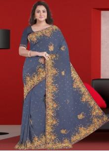 Grey Patch Border Designer Saree