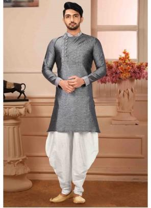 Grey Plain Art Silk Kurta Pyjama