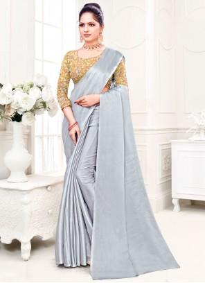 Grey Plain Fancy Fabric Trendy Saree