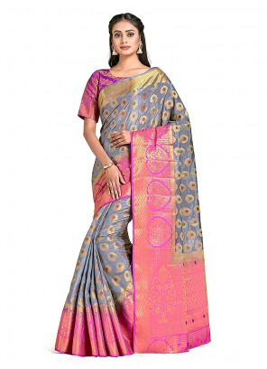 Grey Print Art Silk Designer Traditional Saree