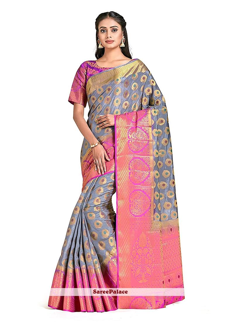 Grey Print Art Silk Designer Traditional Saree