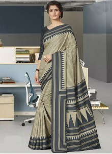 Grey Print Art Silk Traditional Saree