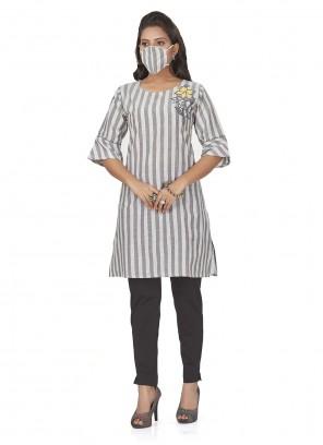 Grey Print Cotton Party Wear Kurti