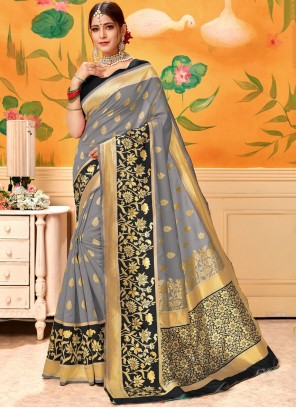 Grey Print Traditional Saree