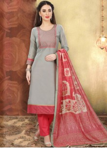 Grey Printed Ceremonial Churidar Designer Suit