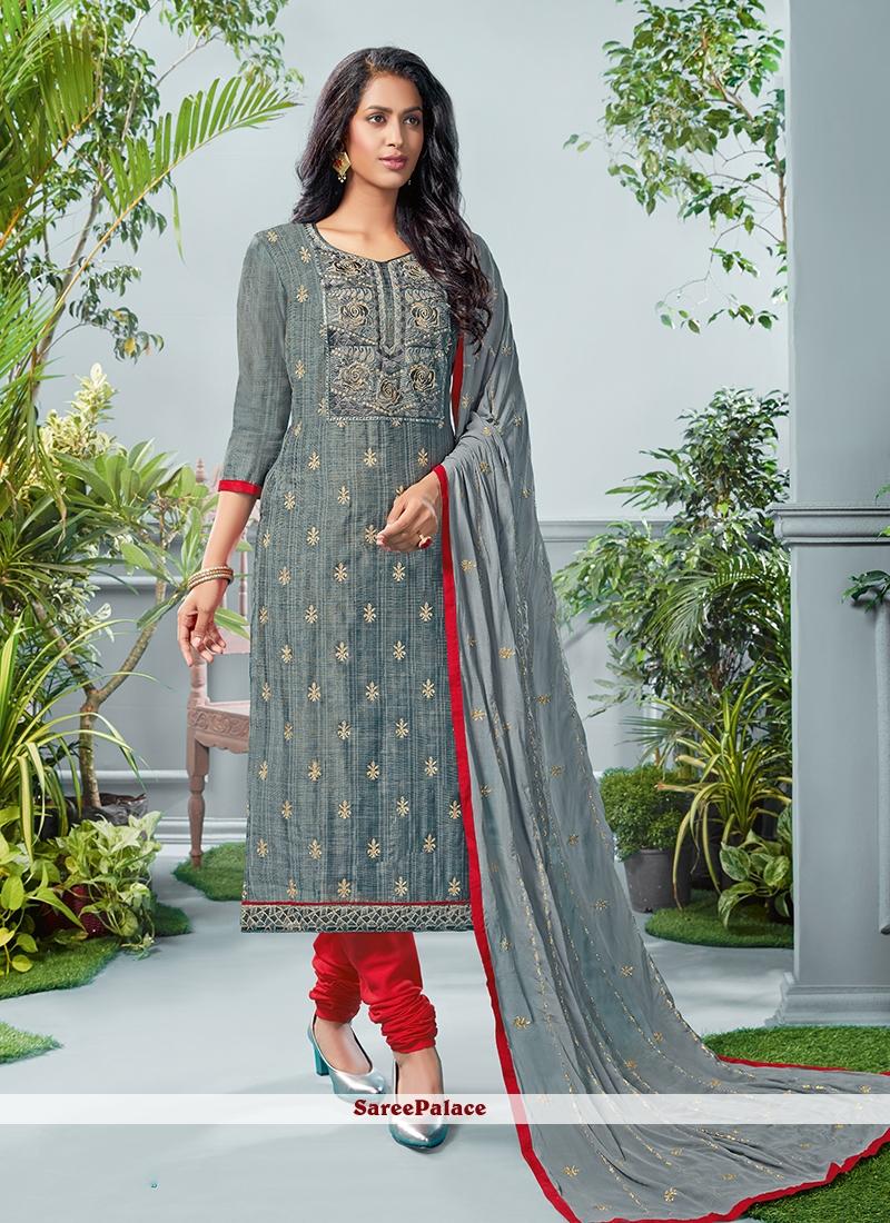 Grey Printed Cotton Salwar Suit