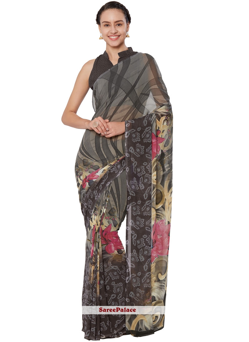 Grey Printed Faux Georgette Casual Saree