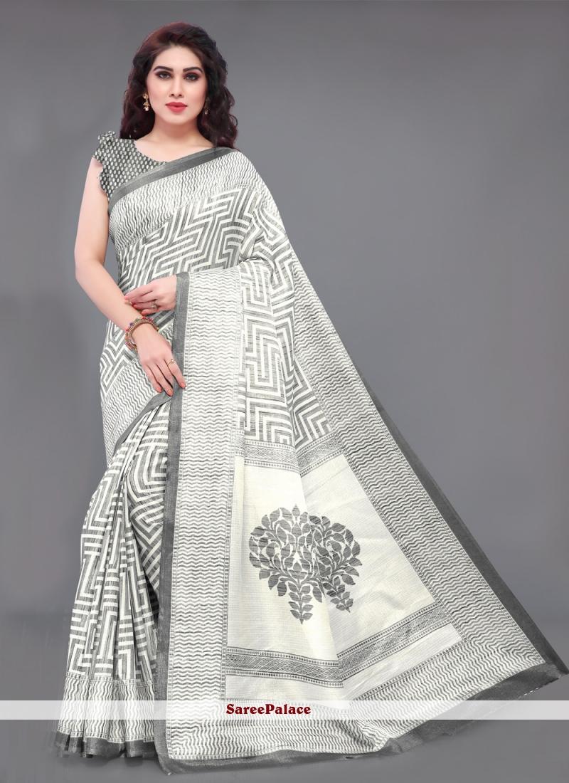 Grey Printed Khadi Silk Classic Saree