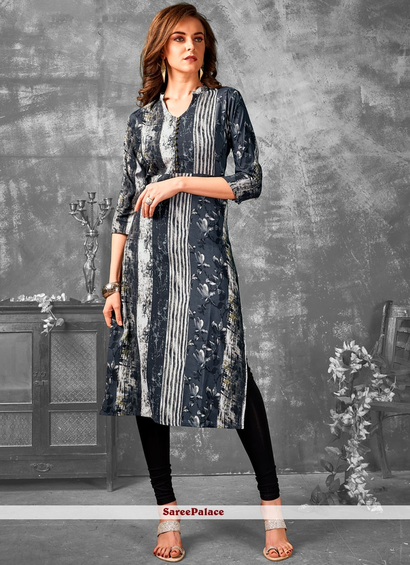 Grey Printed Party Wear Kurti