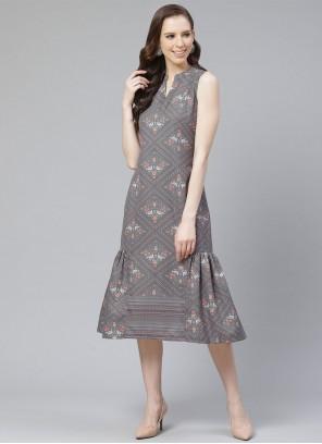 Grey Printed Rayon Party Wear Kurti