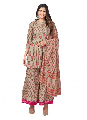 Grey Printed Readymade Suit