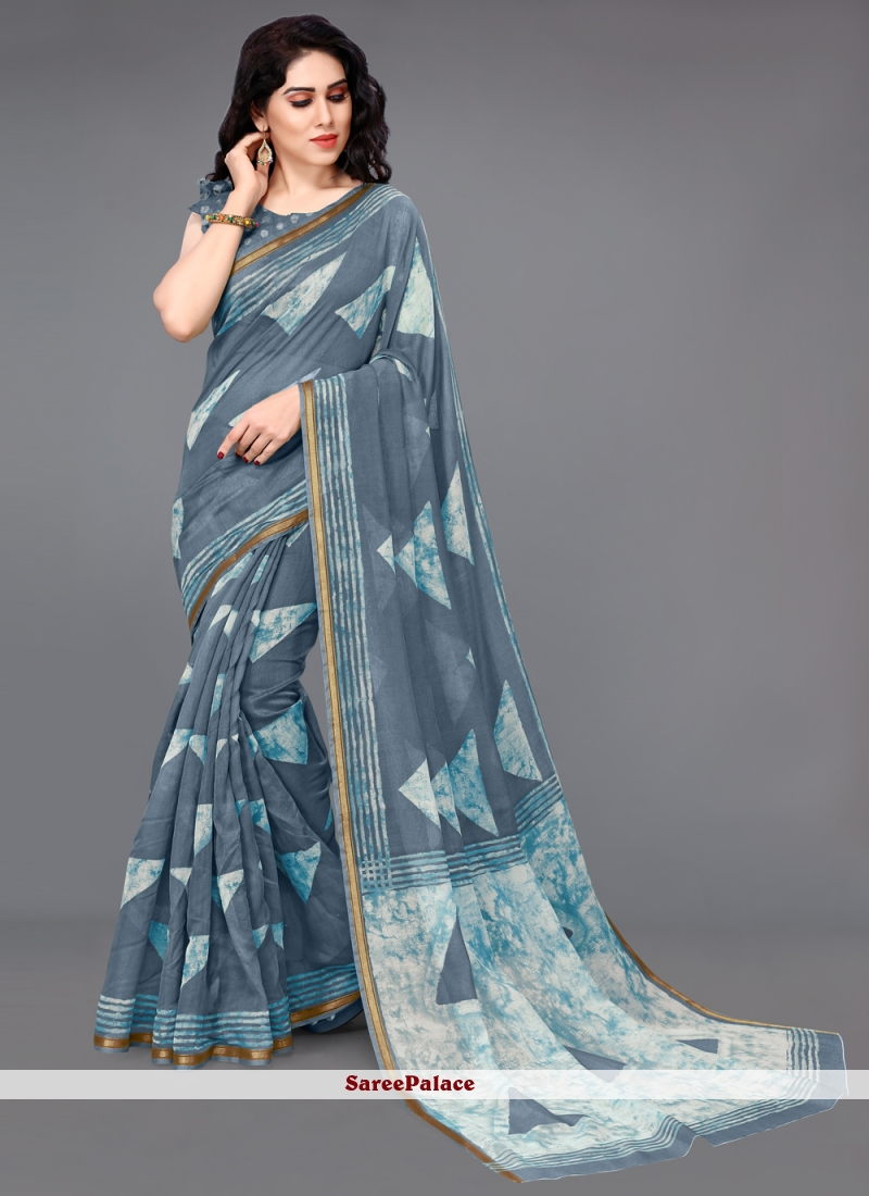 Grey Printed Saree