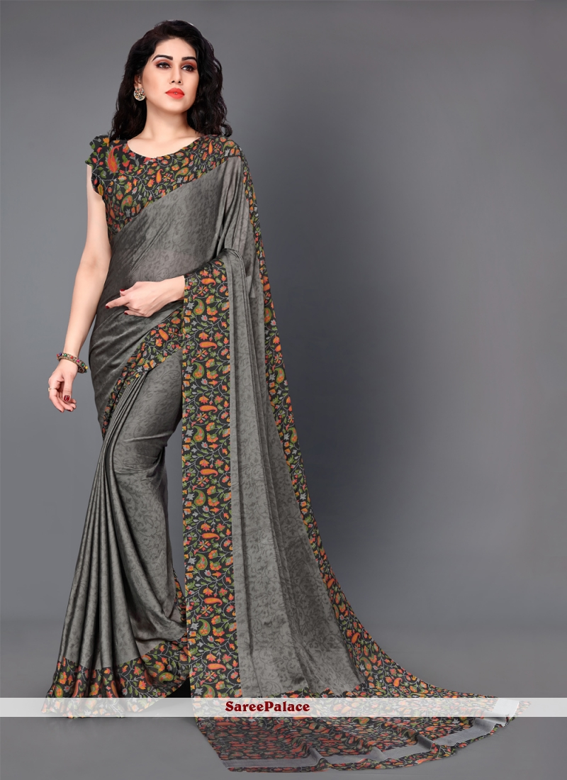 Grey Printed Silk Trendy Saree