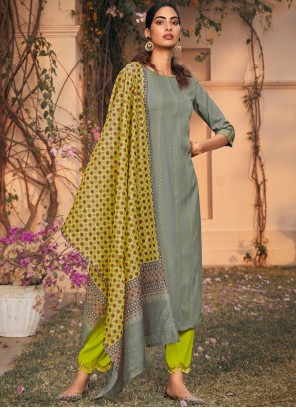 Grey Rayon Embroidered Trendy Salwar Kameez