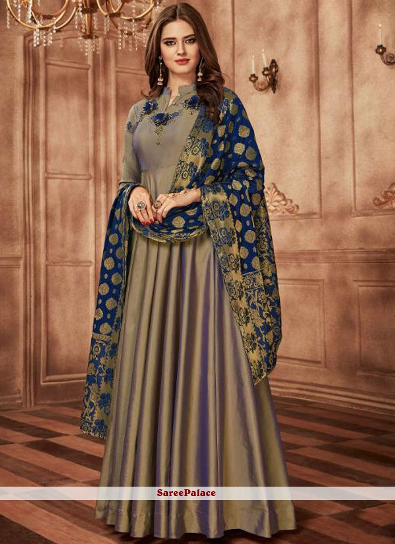 Grey Readymade Anarkali Suit