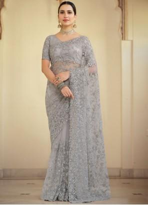 Grey Reception Contemporary Saree