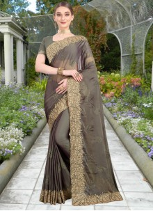 Grey Reception Faux Chiffon Trendy Saree