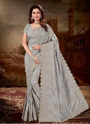 Grey Resham Art Silk Designer Traditional Saree