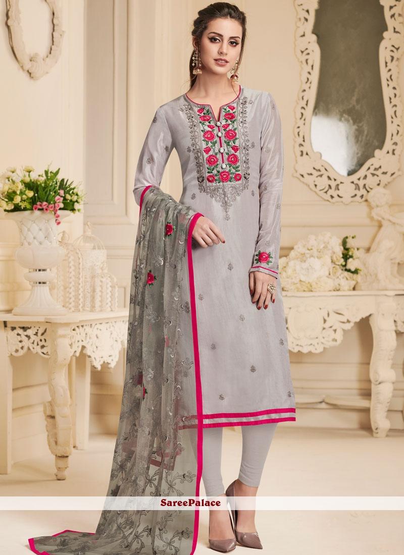 Grey Resham Churidar Designer Suit