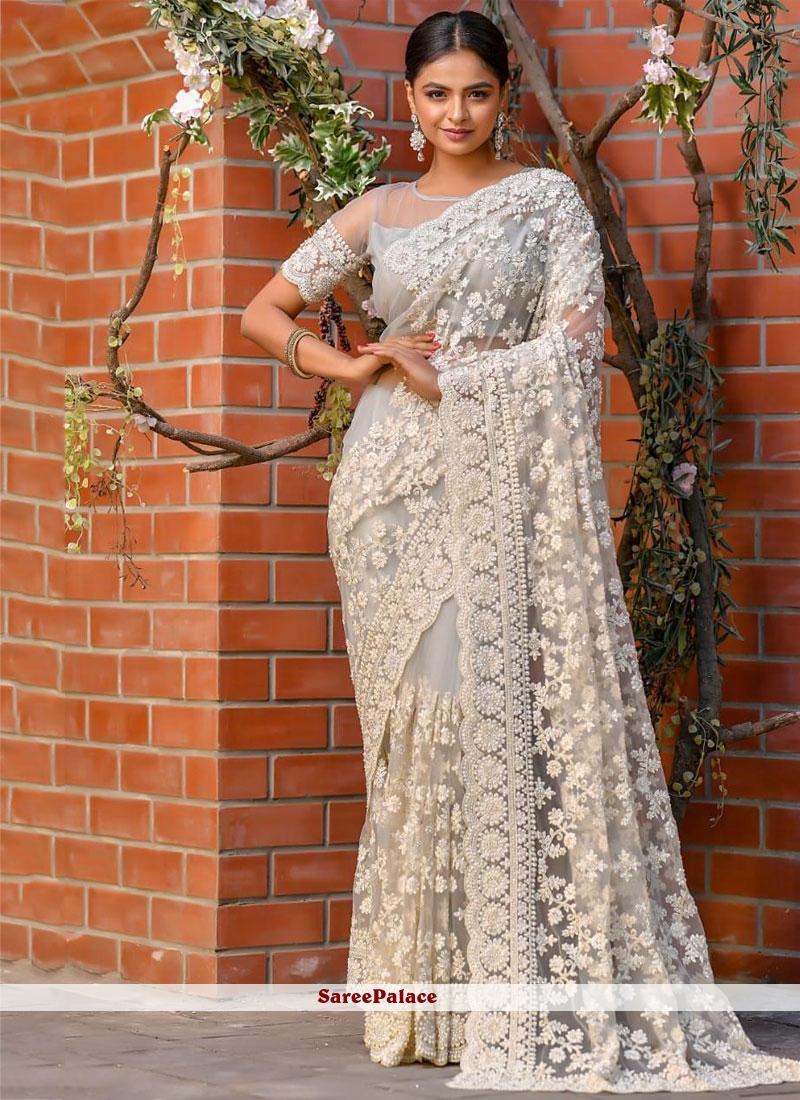 Grey Resham Classic Designer Saree