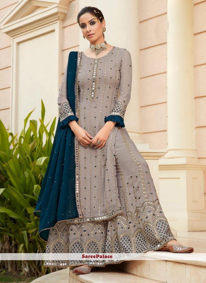Grey Resham Faux Georgette Designer Palazzo Suit