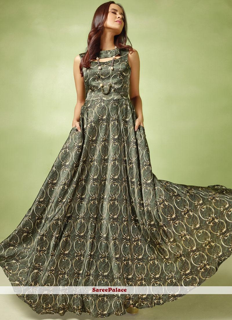 Grey Resham Readymade Gown
