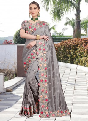 Grey Resham Silk Saree