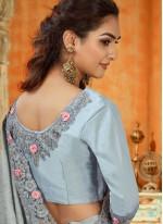 Grey Resham Trendy Saree