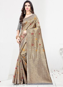 Grey Sangeet Art Silk Designer Traditional Saree