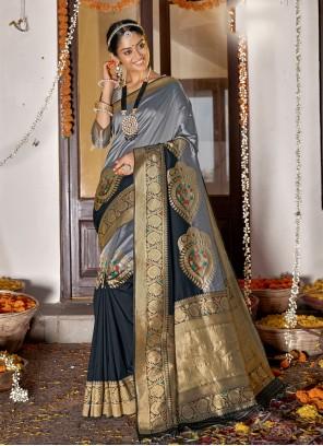 Grey Sangeet Banarasi Silk Designer Saree