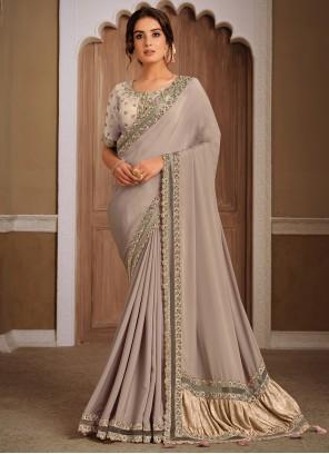 Grey Sangeet Designer Traditional Saree