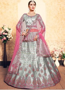 Grey Sangeet Satin Trendy Lehenga Choli