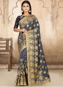 Grey Satin Silk Ceremonial Designer Traditional Saree