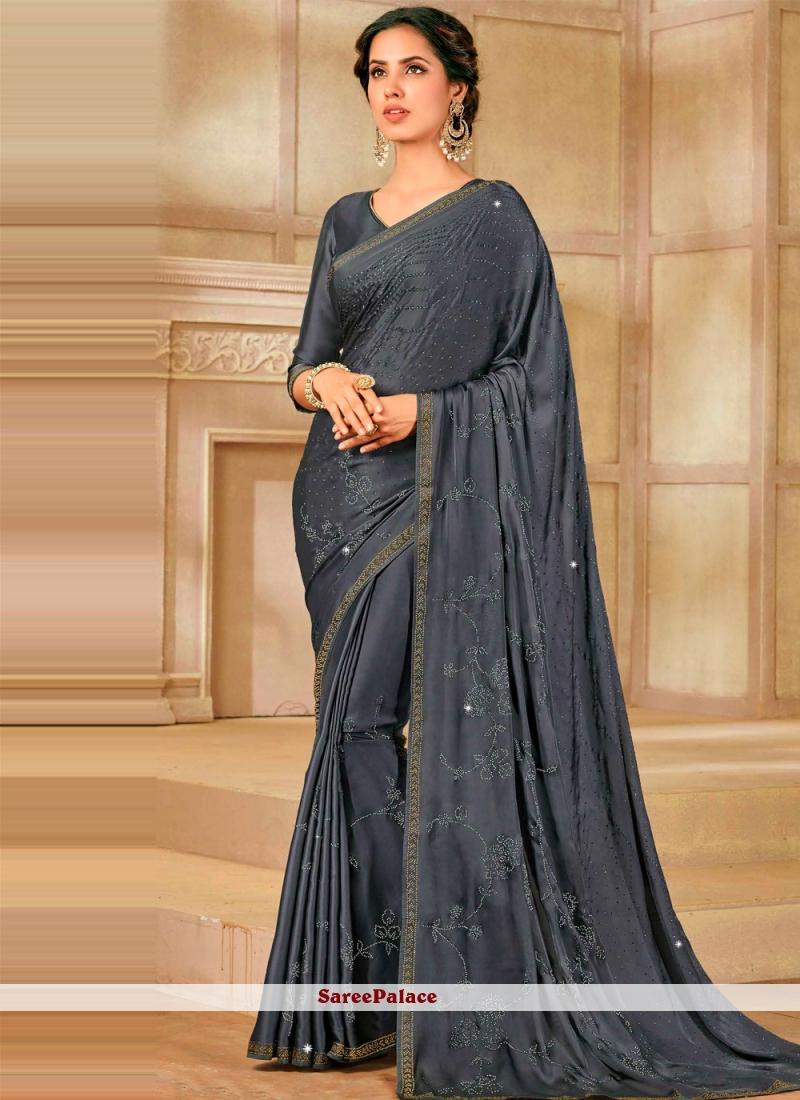Grey Satin Silk Designer Saree