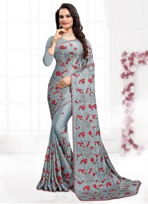 Grey Satin Silk Resham Classic Saree