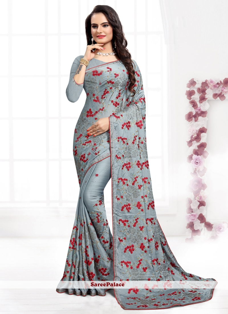 Grey Satin Silk Resham Classic Saree