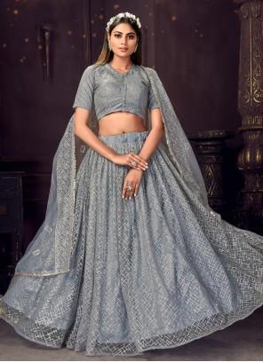 Grey Sequins Ceremonial Designer Lehenga Choli