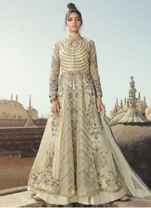 Grey Sequins Designer Long Lehenga Choli