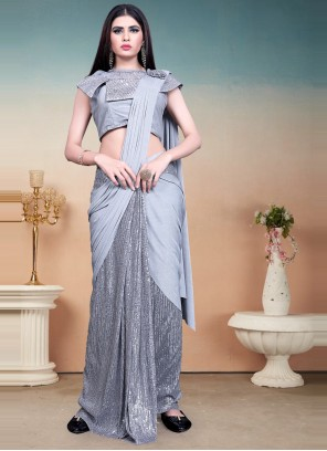 Grey Sequins Designer Saree