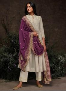 Grey Silk Ceremonial Trendy Pakistani Salwar Suit
