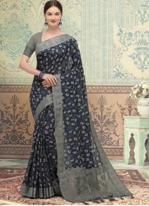 Grey Silk Designer Traditional Saree