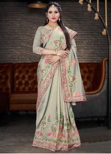 Grey Silk Embroidered Trendy Saree