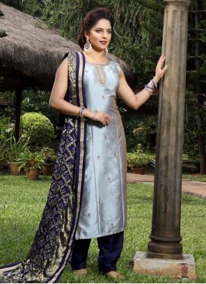 Grey Silk Handwork Salwar Suit
