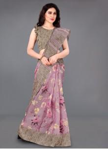 Grey Silk Printed Classic Saree