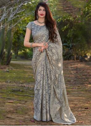Grey Silk Printed Designer Traditional Saree