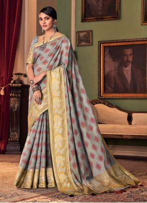 Grey Silk Traditional Saree