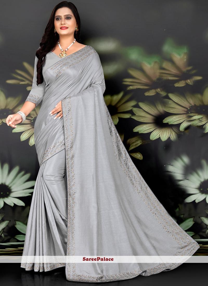 Grey Silk Fancy Work Traditional Saree
